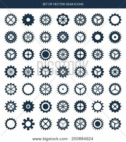 Gear icons set. Vector cogwheels, pinions, gear wheels isolated on white background. 49 pieces