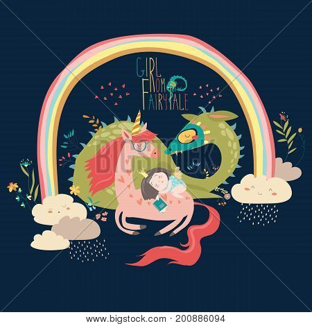 Cute cartoon dragon, unicorn and little princess. Vector illustration