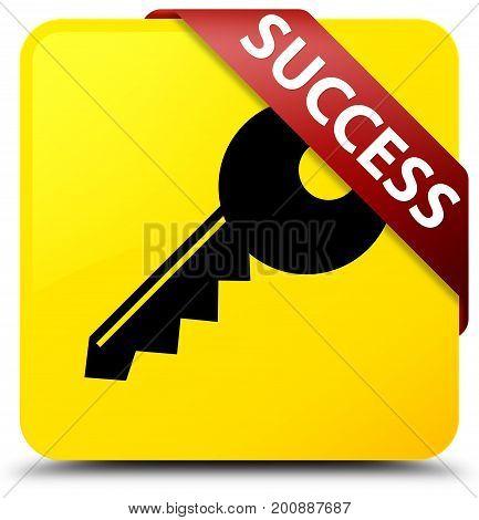 Success (key Icon) Yellow Square Button Red Ribbon In Corner