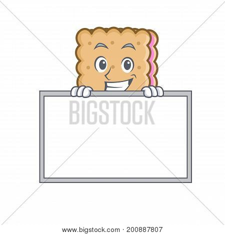 Grinning biscuit cartoon character style with board vector art