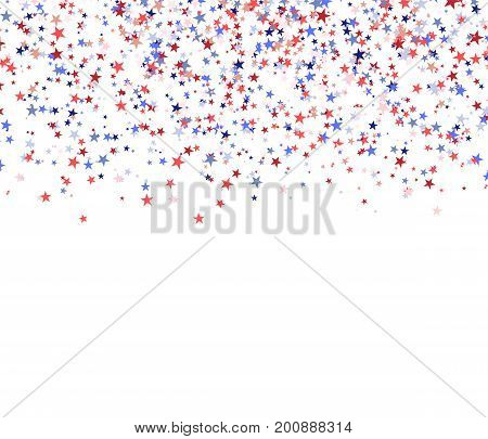 Red blue and white stars falling from the sky national USA flag colors. Vector illustration on white background for Patriot day (Memorial Labor Independence Constitution day).