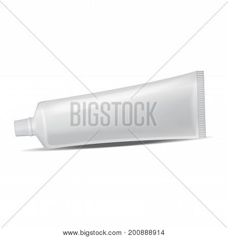 Vector plastic tube for medicine or cosmetics - toothpaste, cream, gel, skin care. Packaging mockup template for your design