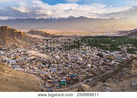 Leh city view from Namgyal Tsemo Monastery Leh Ladakh India
