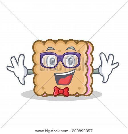 Geek biscuit cartoon character style vector art illustration