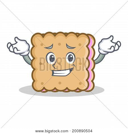 Grinning biscuit cartoon character style vector illustration