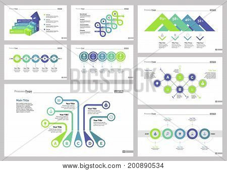 Infographic design set can be used for workflow layout, diagram, annual report, presentation, web design. Business and production concept with process, bar and percentage charts.