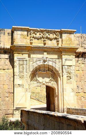 View of St John bastion and advanced gate (bastion gate) Vittoriosa (Birgu) Malta Europe.