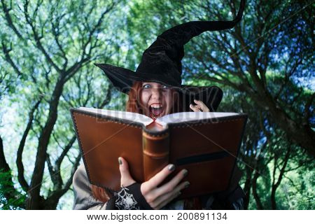 Picture of witch casting spell, with open book in evening mystical forest