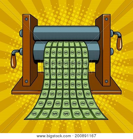 Printing machine prints money pop art style vector illustration. Comic book style imitation