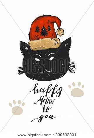 Hand drawn vector abstract Merry Christmas greeting card template with black cat character in red Santa Claus hat and modern calligraphy phase Happy Meow to you.Christmas poster, postcard, decoration