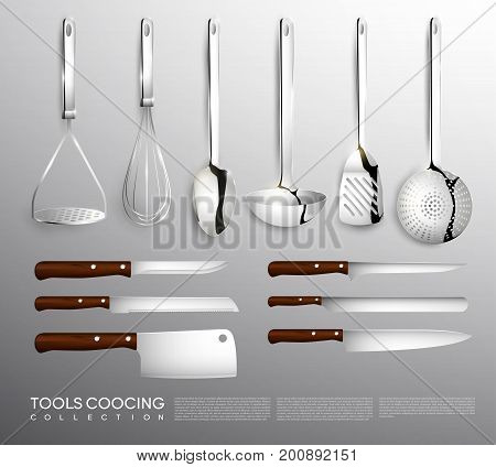 Realistic kitchen equipment collection with cooking tools and knives of different types isolated vector illustration