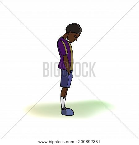 Dark skinned child, boy, teen, teenager standing frustrated. Vector outlined illustration. Colored image, gray background
