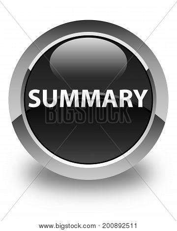 Summary Glossy Black Round Button