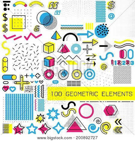 Set of memphis design elements, template for your project, animation, and advertising. Collection of geometrical colored vector elements isolated on white background
