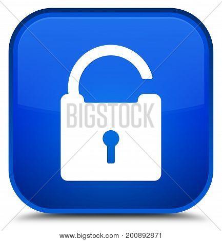 Unlock Icon Special Blue Square Button