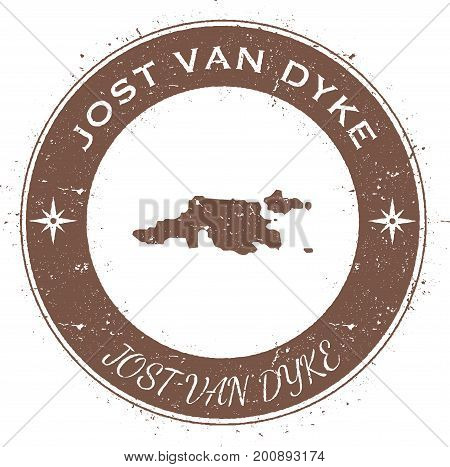 Jost Van Dyke Circular Patriotic Badge. Grunge Rubber Stamp With Island Flag, Map And Name Written A
