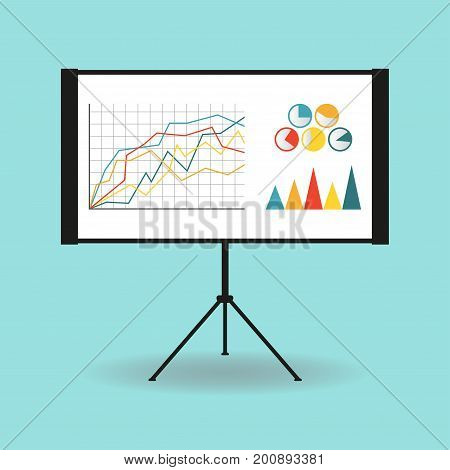 Flipchart whiteboard or projection screen with marketing data. Flat design. Vector illustration.