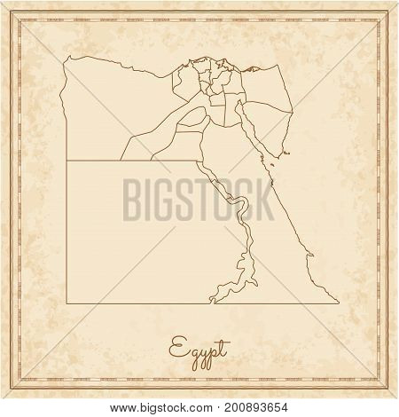 Egypt Region Map: Stilyzed Old Pirate Parchment Imitation. Detailed Map Of Egypt Regions. Vector Ill