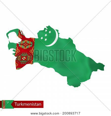 Turkmenistan Map With Waving Flag Of Country.