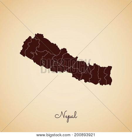 Nepal Region Map: Retro Style Brown Outline On Old Paper Background. Detailed Map Of Nepal Regions.