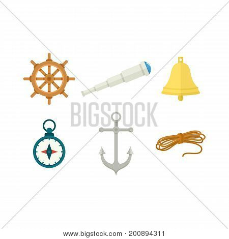 Nautical set - wheel, ship bell, compass, anchor, spyglass, rope, flat cartoon vector illustration isolated on white background. Nautical objects - wheel, bell, compass, anchor rope and spyglass