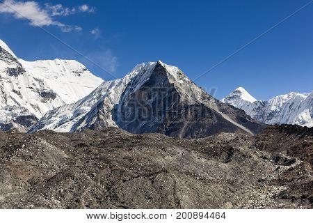 Island Peak Or Imja Tse View On The Way To Everest Base Camp In Sagarmatha National Park, Himalayas,