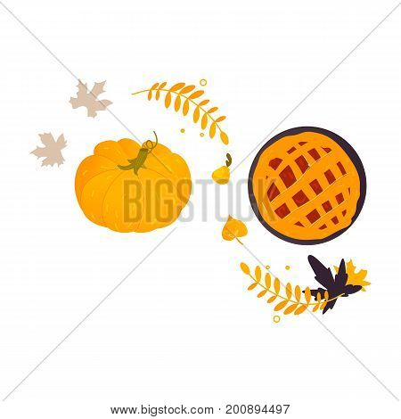 Ripe orange pumpkin, freshly baked fruit pie and fall, autumn leaves, cartoon vector illustration isolated on white background. Traditional pumpkin pie and ripe orange pumpkin, Thanksgiving Day symbol