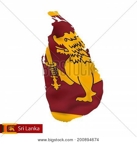Sri Lanka Map With Waving Flag Of Country.