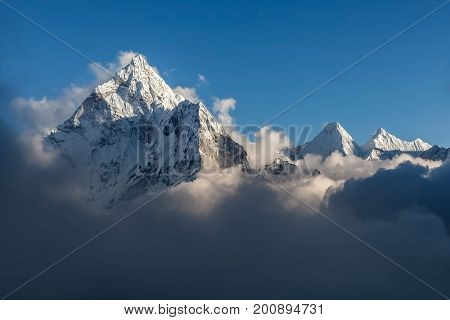 Dramatic Mountain View Of Ama Dablam Summit On The Famous Everest Base Camp Trek In Himalayas, Nepal