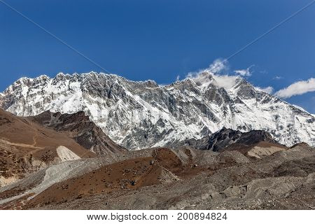 Beautiful Himalayan Mountain Range On A Bright Sunny Day. Lhotse And Nuptse Mountains Range View Fro