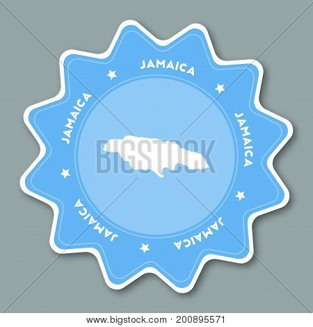 Jamaica Map Sticker In Trendy Colors. Star Shaped Travel Sticker With Country Name And Map. Can Be U