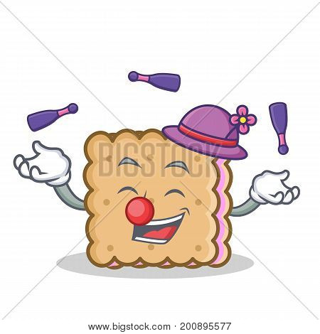 Juggling biscuit cartoon character style vector art illustration
