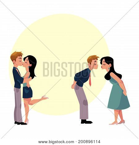 Set of young couple, man and woman, boy and girl kissing romantically, cartoon vector illustration with space for text. Set of four kissing couples, romantic relationships, dating, flirting