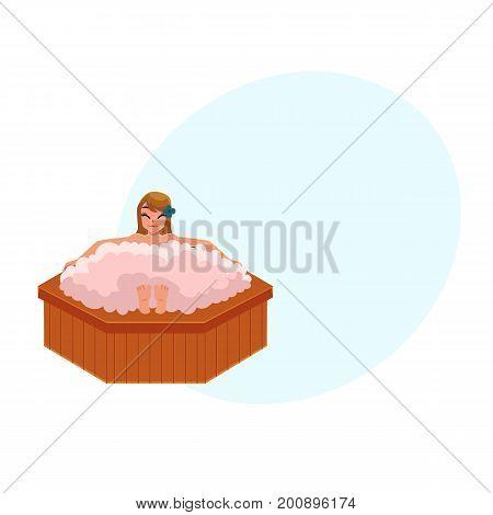 Woman getting foam bath in spa salon, relaxing in big round bathtub, cartoon vector illustration with space for text. Woman getting foam bath in spa, front view cartoon illustration
