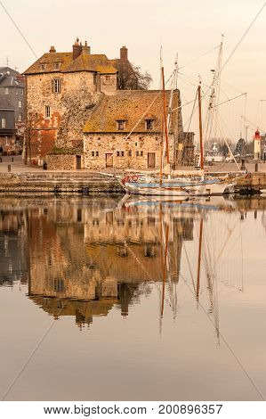 Picturesque old port of Honfluer in Normandy region of France
