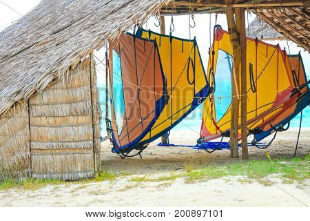 Wooden shelter shed with equipment for windsurfing on sea beach