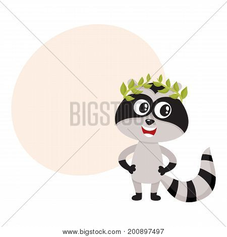 Cute little raccoon character, champion, winner standing in laurel wreath, cartoon vector illustration with space for text. Little baby raccoon animal champion in bay leaf wreath