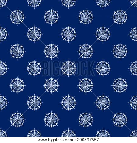 Seamless Travel Pattern with Compass Rose, Maritime Tourism Concept , Line Style Design, Vector Illustration