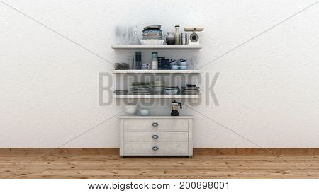 Minimalist kitchen interior with a single small wooden cabinet and shelves with kitchenware against a white wall with copy space over a wood floor. 3d render