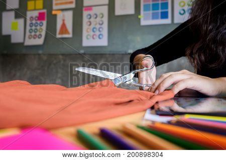Hands Notch Tailor Tailor's Scissors Cloth Cutting A Piece Of Fabric (fashion Designer Concept).