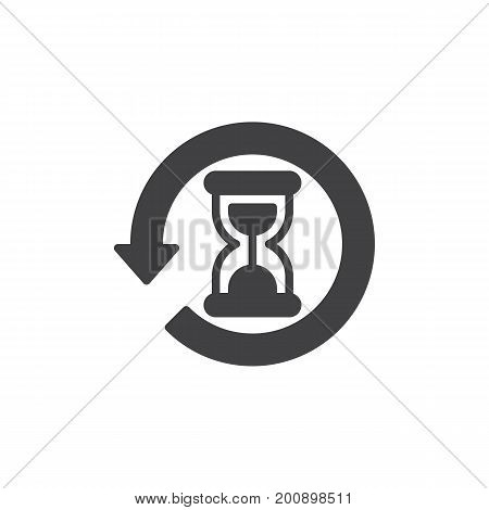 History icon vector, filled flat sign, solid pictogram isolated on white. Hourglass with arrow around symbol, logo illustration. Pixel perfect vector graphics
