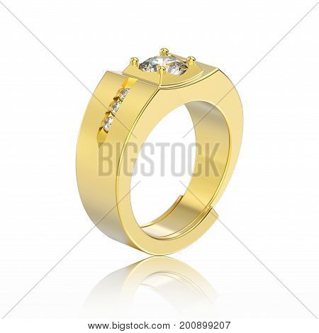3D illustration yellow gold men signet diamond ring with reflection on a white background