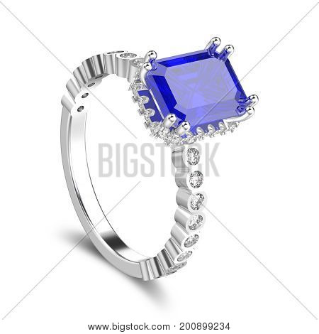 3D illustration isolated white gold or silver diamonds decorative ring with blue sapphire with shadow on a white background