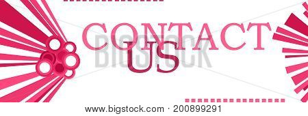 Contact us text written over abstract pink background.