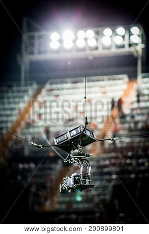 VALENCIA, SPAIN - AUGUST 18: Spidercam during Spanish La Liga match between Valencia CF and Las Palmas UD at Mestalla Stadium on August 18, 2017 in Valencia, Spain