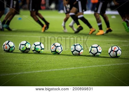 VALENCIA, SPAIN - AUGUST 18: Official Ball during Spanish La Liga match between Valencia CF and Las Palmas UD at Mestalla Stadium on August 18, 2017 in Valencia, Spain