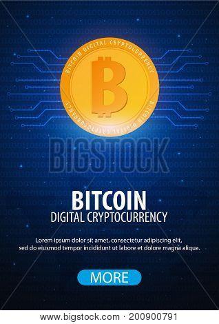 Bitcoin. Digital Cryptocurrency Mining Farm. Technology Banner.