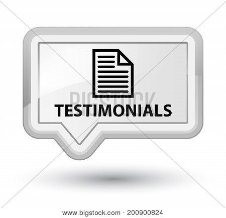 Testimonials (page Icon) Prime White Banner Button