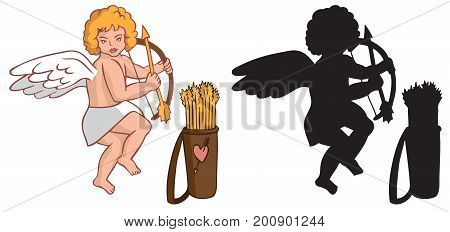 illustration on white background silhouette and a color image of Cupid with a quiver and arrows