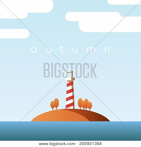 Autumn landscape vector concept with lighthouse on an island and orange trees with foliage in clear fall sky. Eps10 vector illustration.